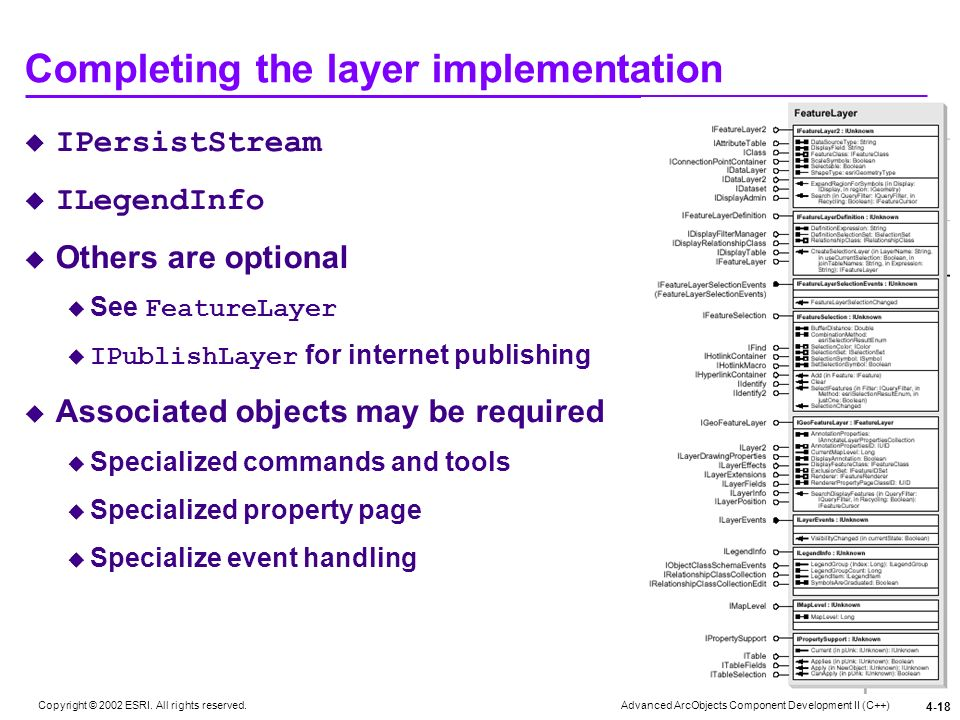 Completing the layer implementation