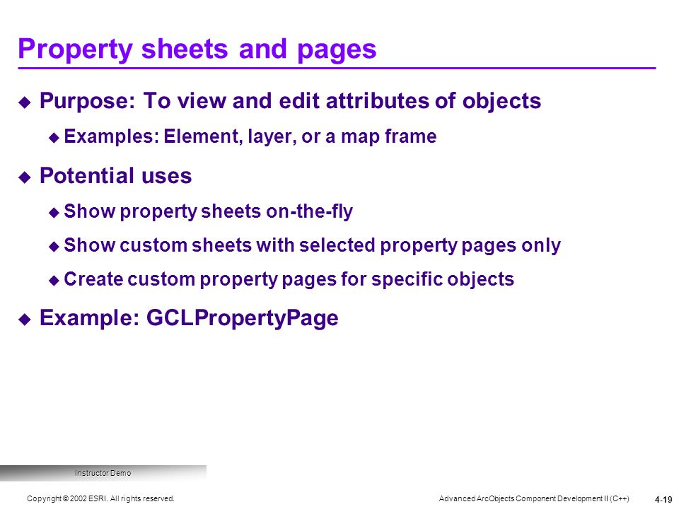 Property sheets and pages