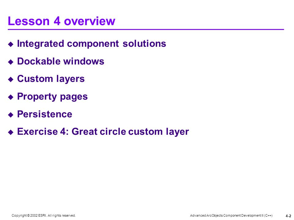 Lesson 4 overview Integrated component solutions Dockable windows