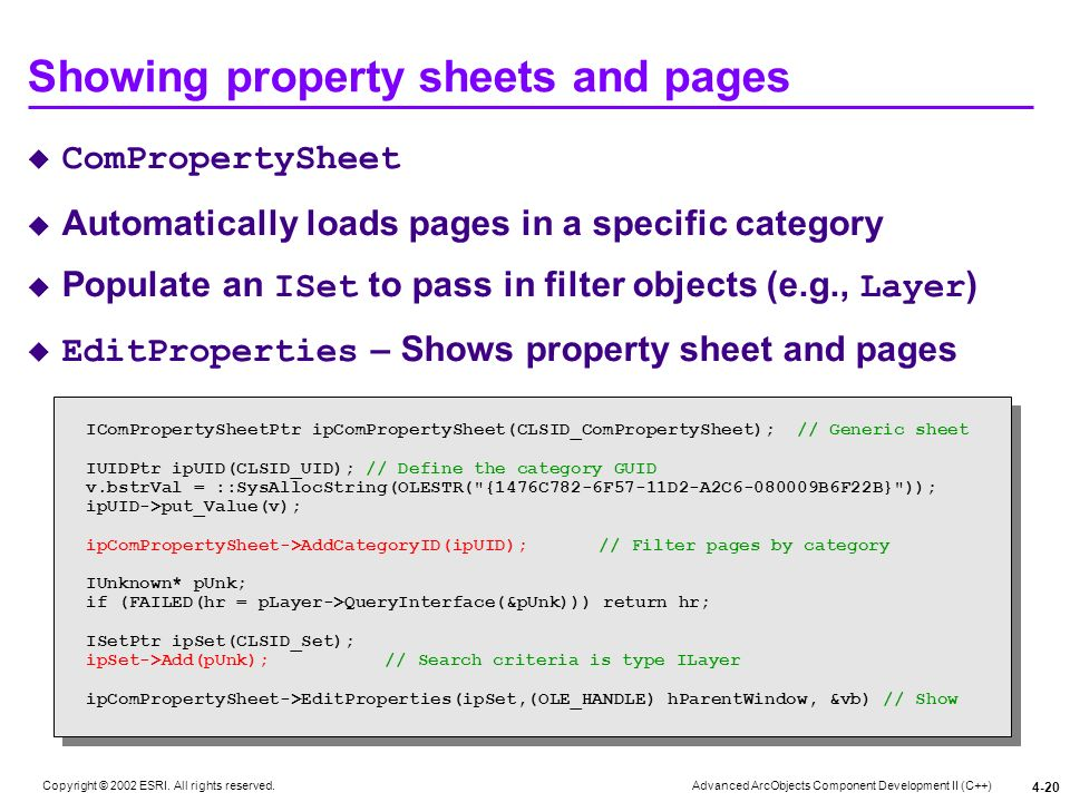 Showing property sheets and pages