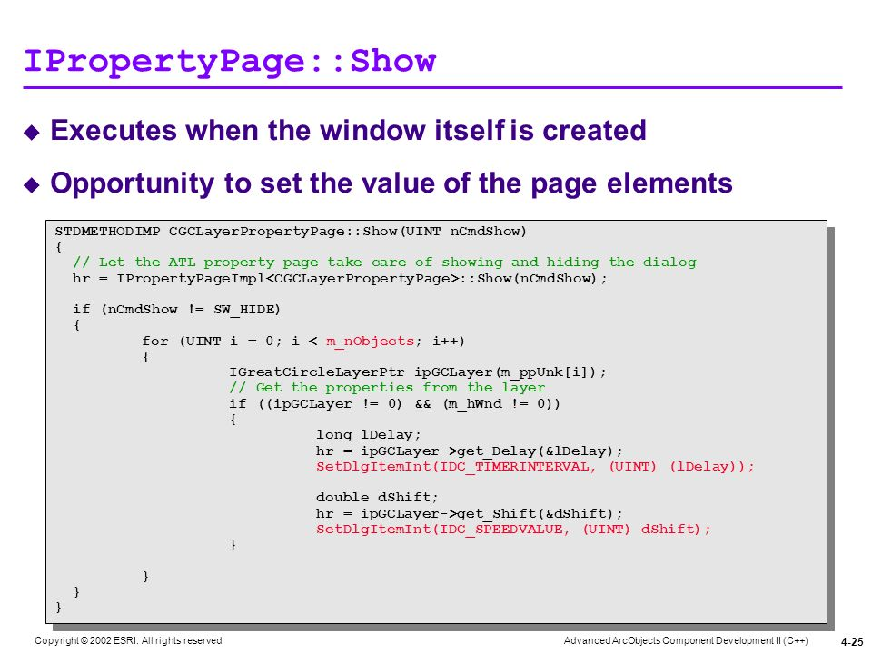 IPropertyPage::Show Executes when the window itself is created