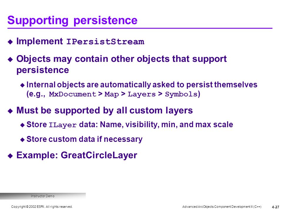 Supporting persistence