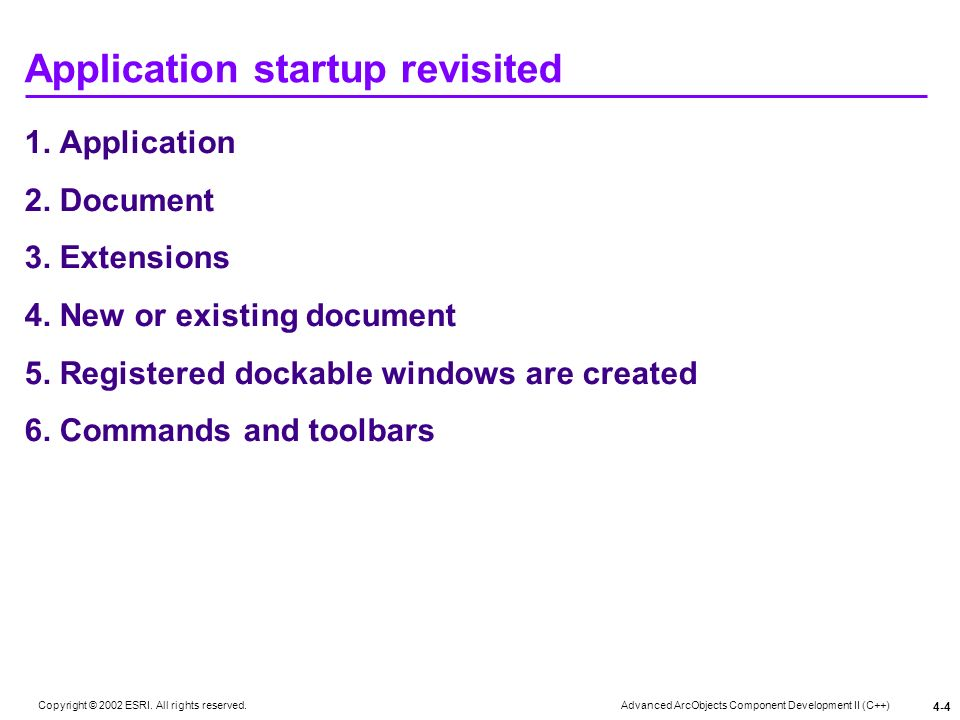 Application startup revisited