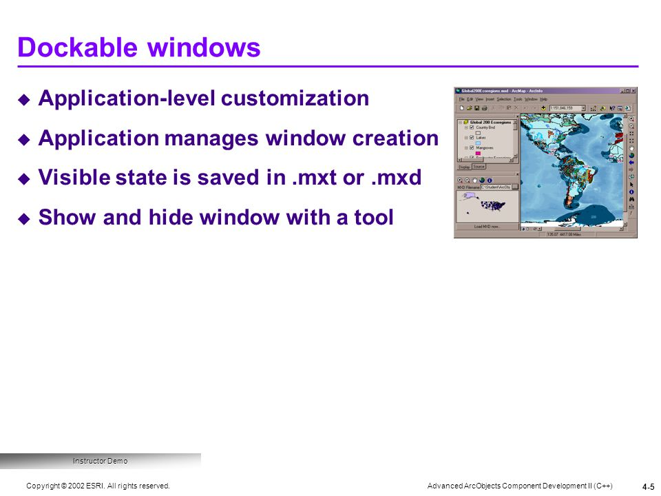 Dockable windows Application-level customization