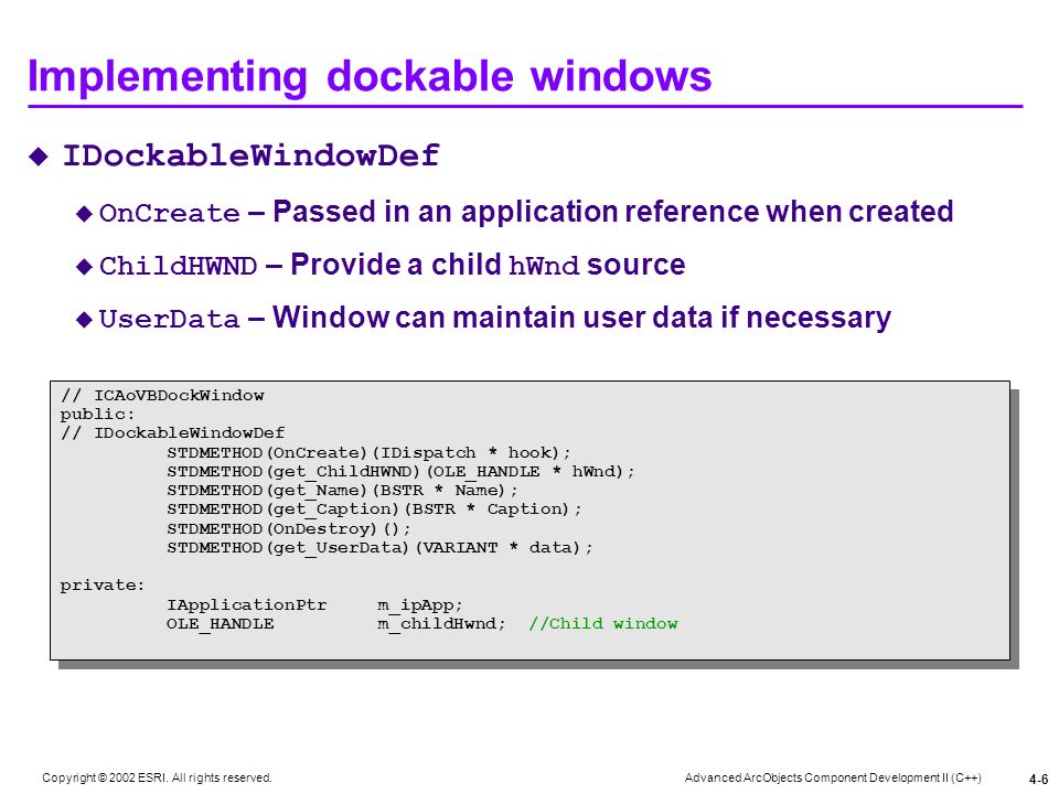 Implementing dockable windows