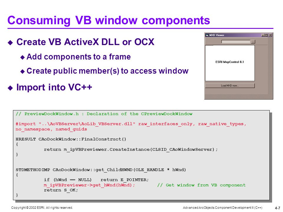 Consuming VB window components
