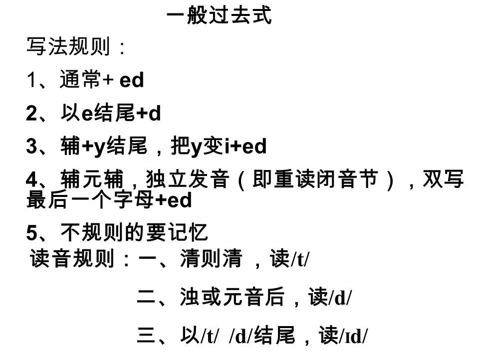 一般过去式 写法规则: 1、通常+ ed. 2、以e结尾+d. 3、辅+y结尾,把y变i+ed. 4、辅元辅,独立发音(即重读闭音节),双写 最后一个字母+ed. 5、不规则的要记忆.