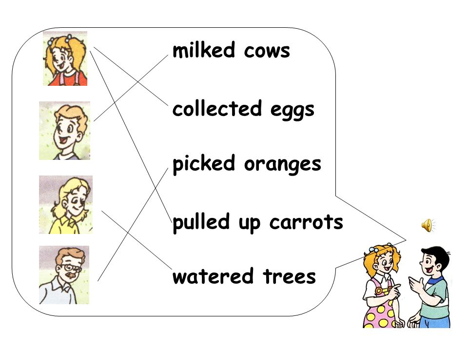 milked cows collected eggs picked oranges pulled up carrots watered trees