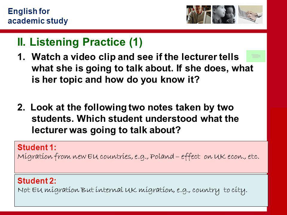 II. Listening Practice (1)