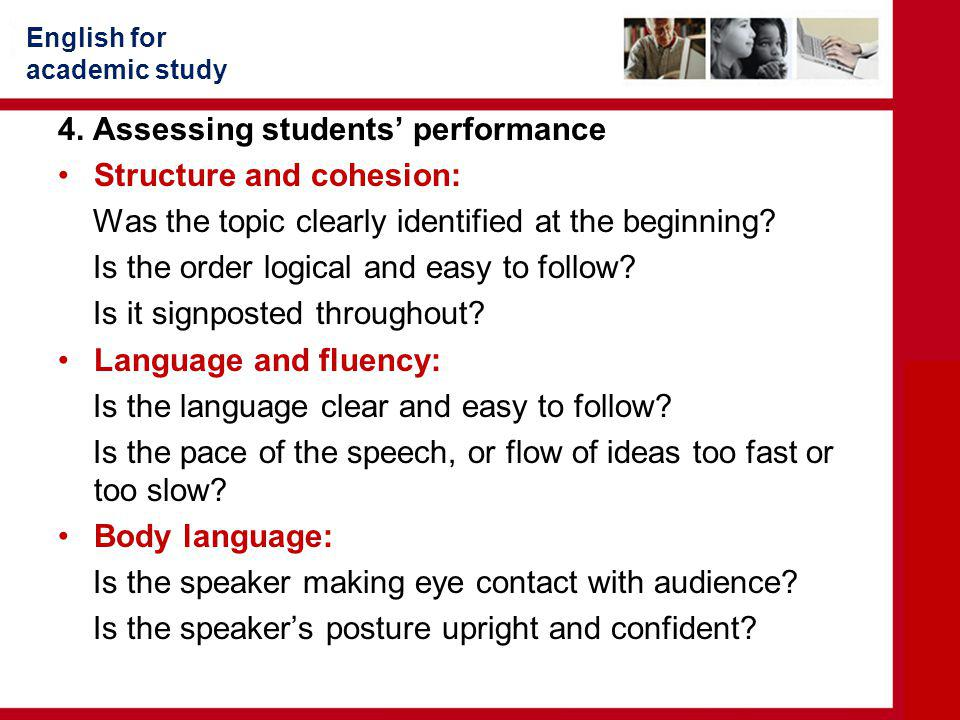4. Assessing students' performance Structure and cohesion: