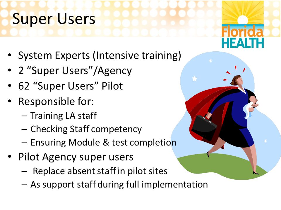 Super Users System Experts (Intensive training) 2 Super Users /Agency