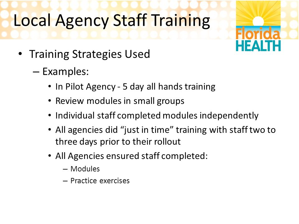 Local Agency Staff Training