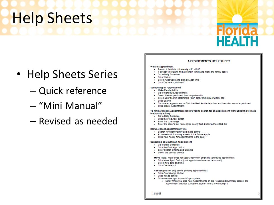 Help Sheets Help Sheets Series Quick reference Mini Manual