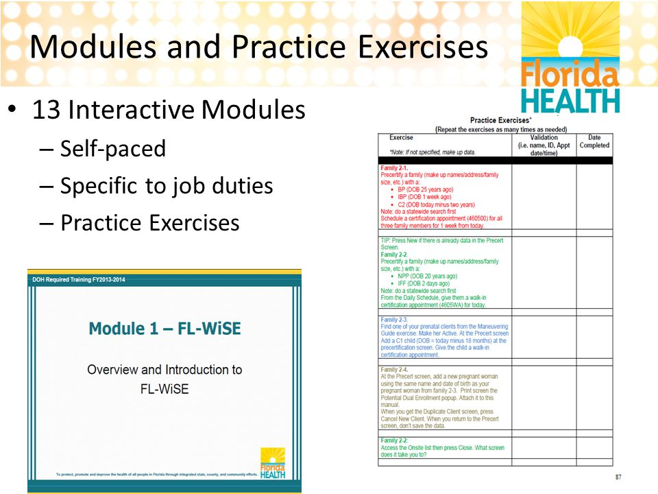 Modules and Practice Exercises