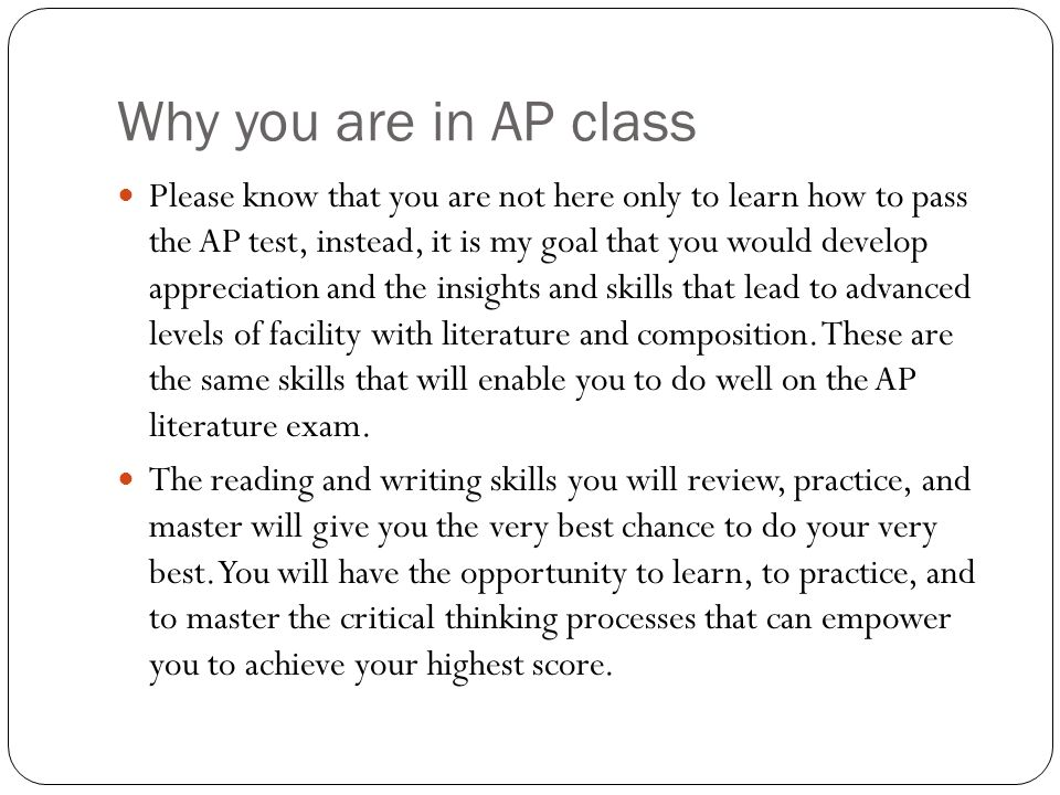 Why you are in AP class