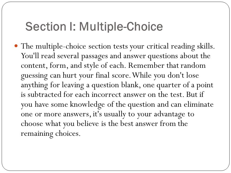 Section I: Multiple-Choice