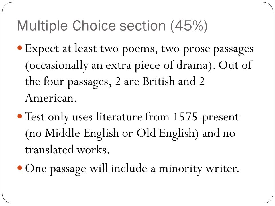 Multiple Choice section (45%)