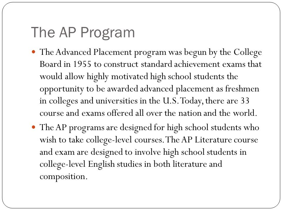 The AP Program