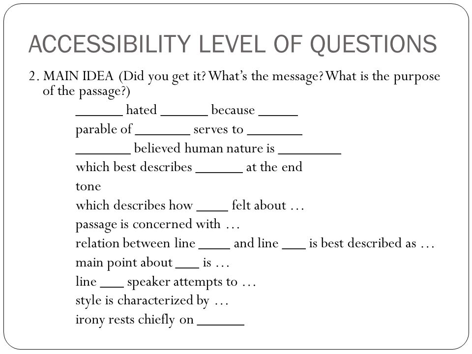 ACCESSIBILITY LEVEL OF QUESTIONS