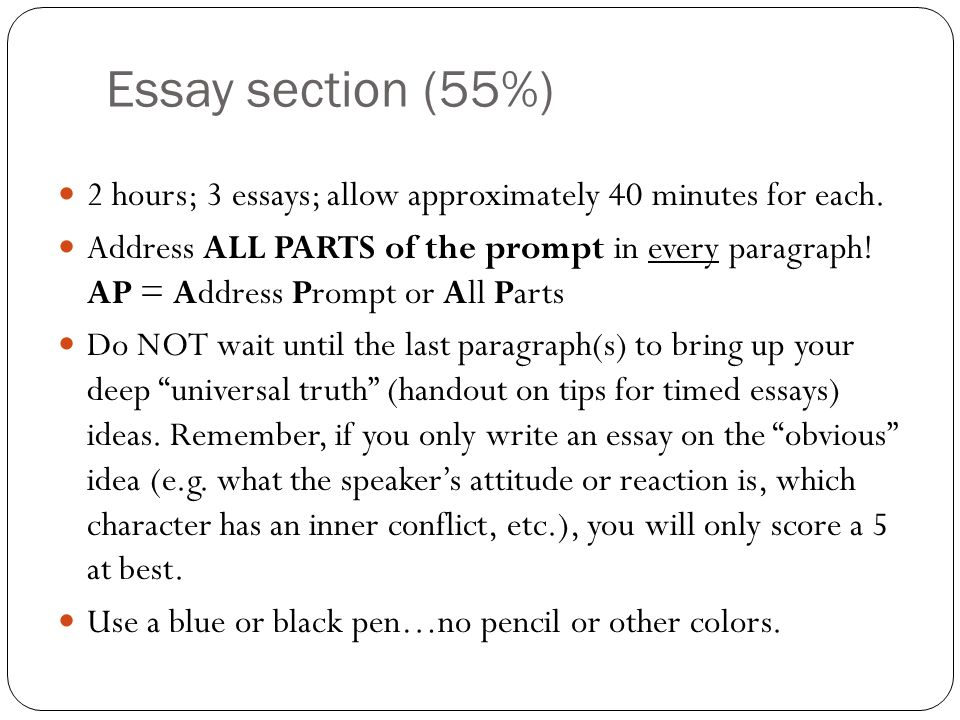 Essay section (55%)2 hours; 3 essays; allow approximately 40 minutes for each.