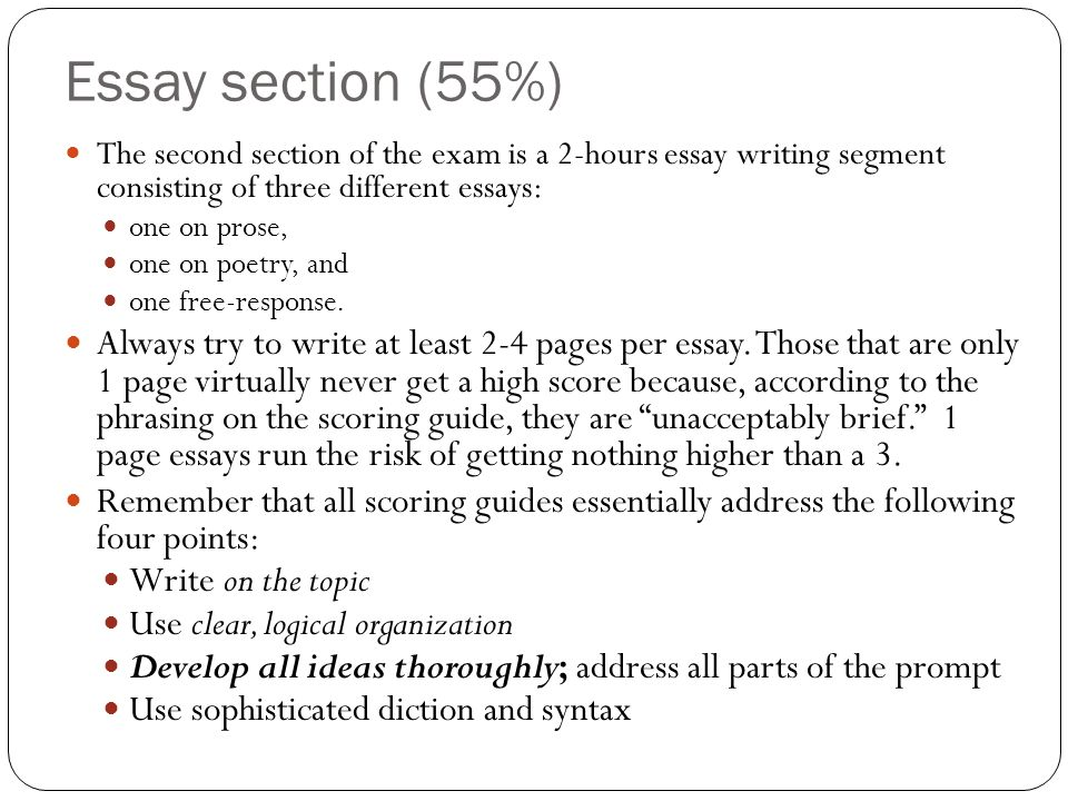 Essay section (55%)The second section of the exam is a 2-hours essay writing segment consisting of three different essays: