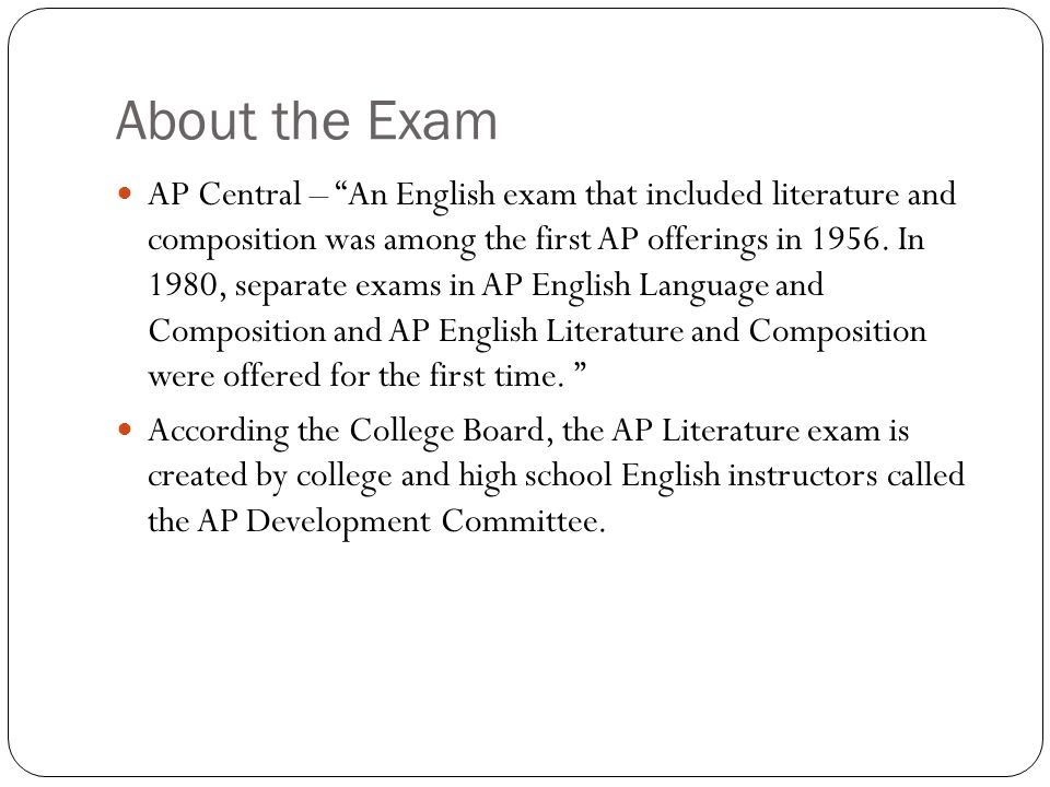 ap literature exam essay Ap® summerinstitute exam materials 2013 ap english literature and composition then write an essay in which you analyze how lawrence employs literary devices to.