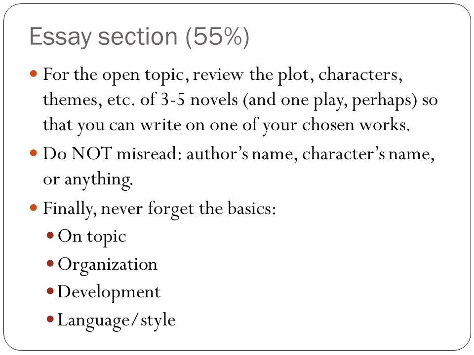 Essay section (55%)
