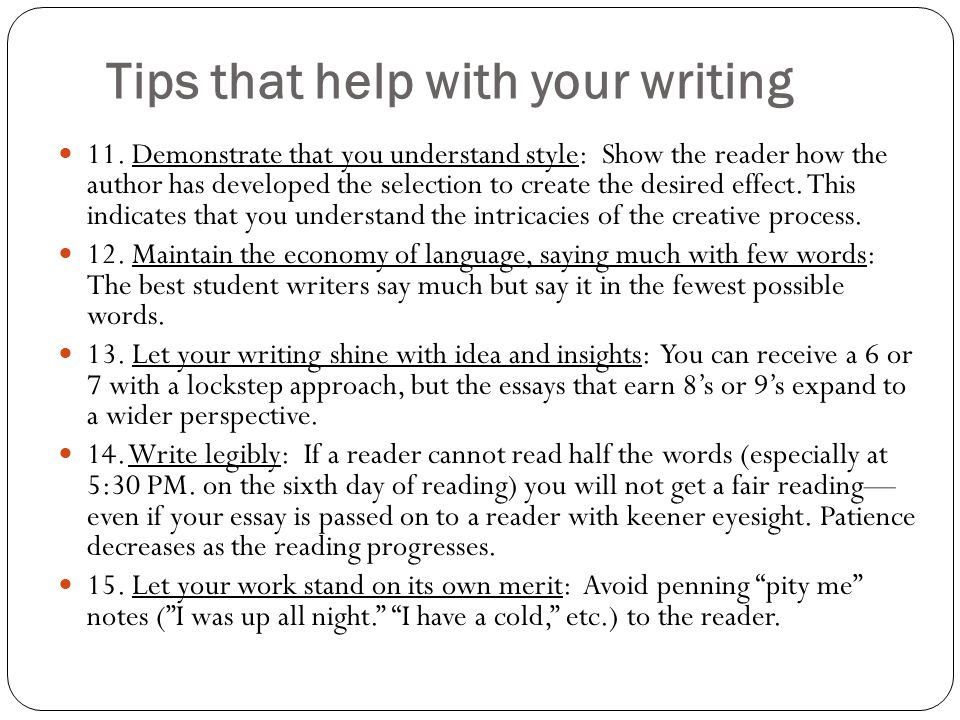 Tips that help with your writing