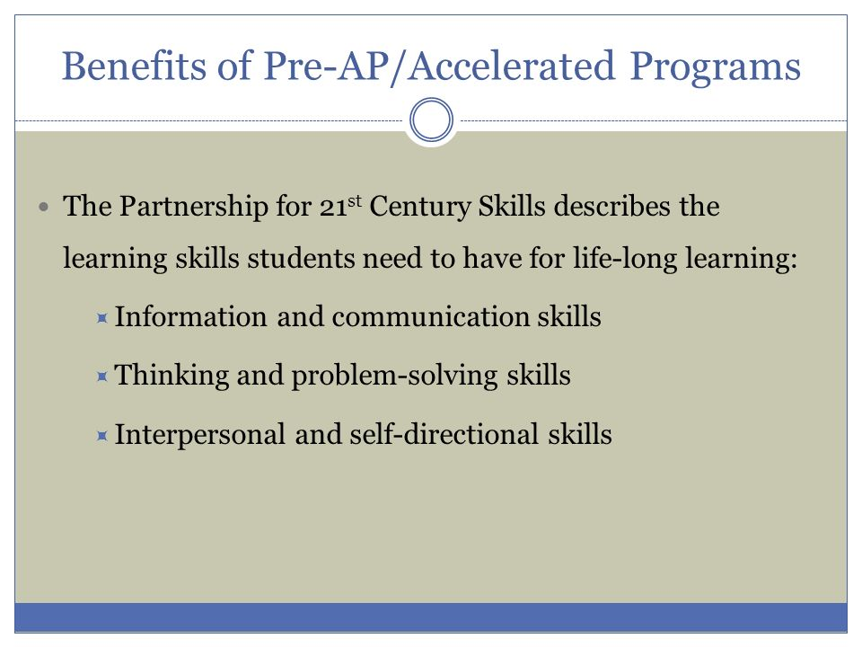 Benefits of Pre-AP/Accelerated Programs