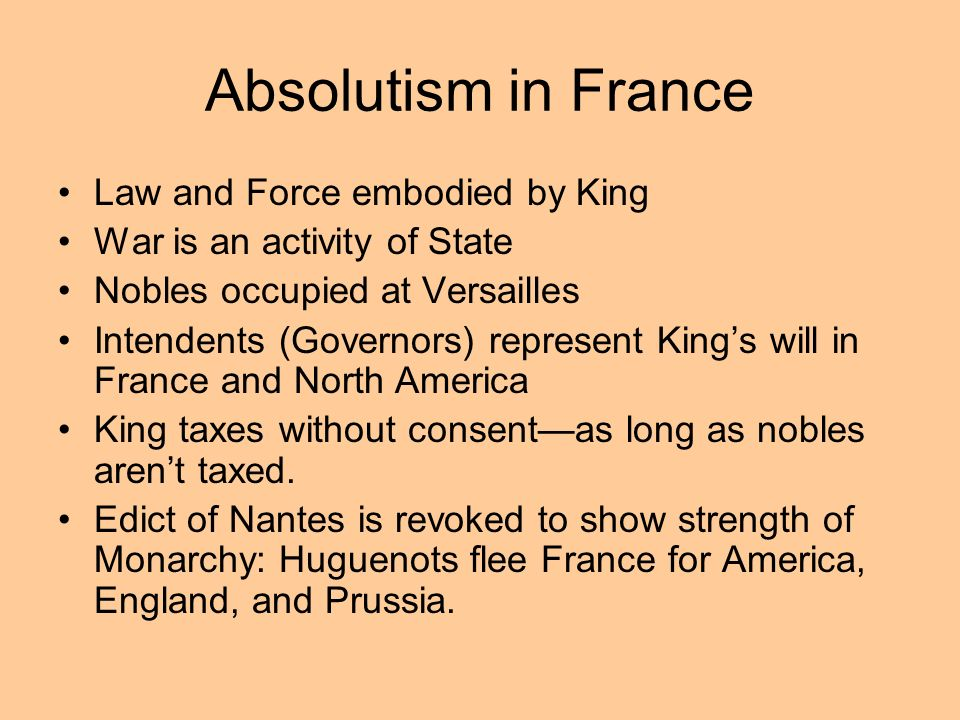 Absolutism in France Law and Force embodied by King