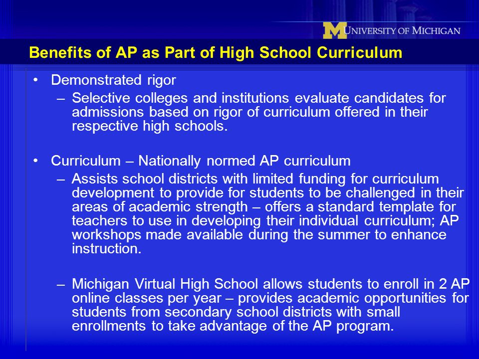 Benefits of AP as Part of High School Curriculum