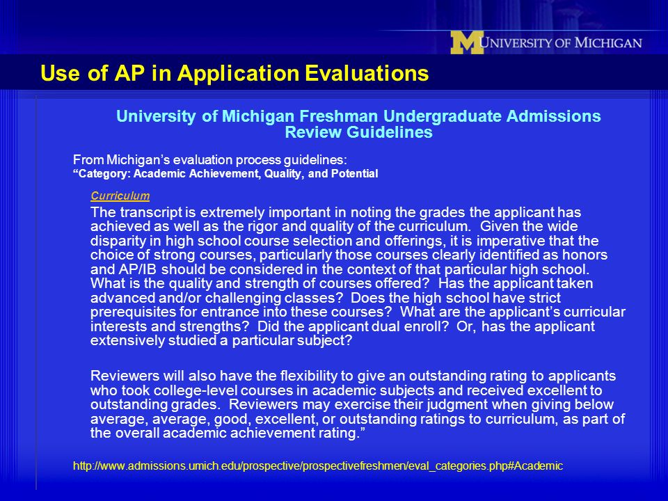 Use of AP in Application Evaluations