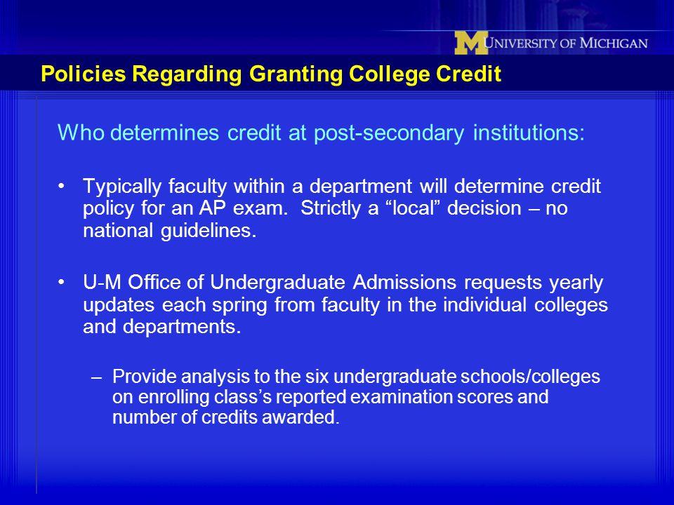 Policies Regarding Granting College Credit