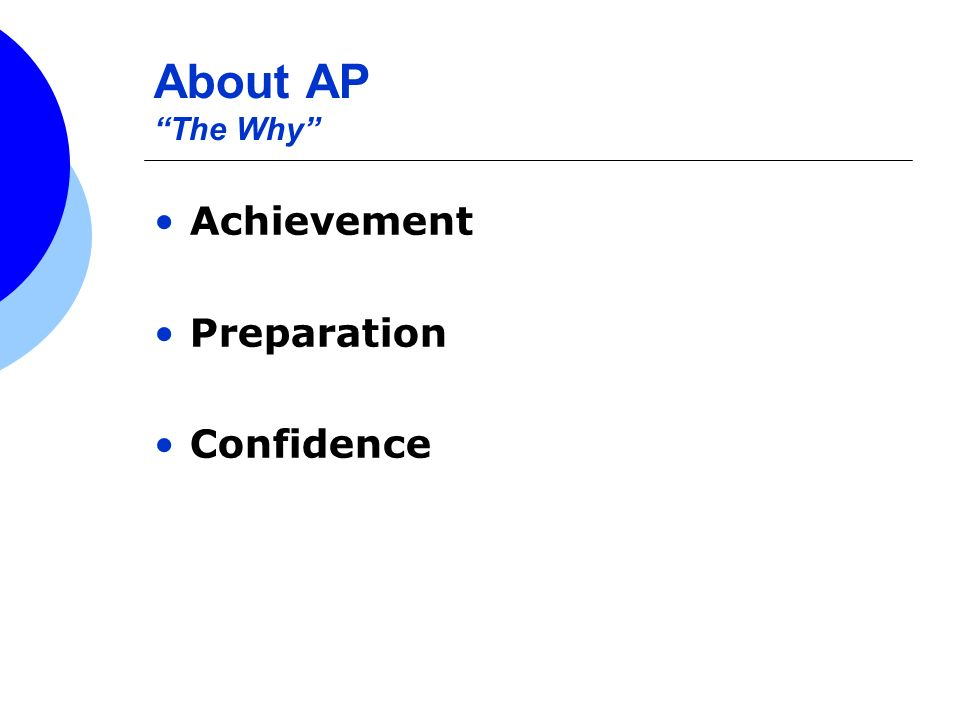 About AP The Why Achievement Preparation Confidence