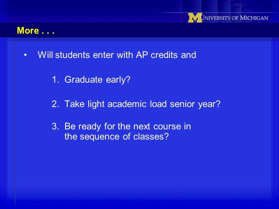 More . . . Will students enter with AP credits and. 1. Graduate early 2. Take light academic load senior year