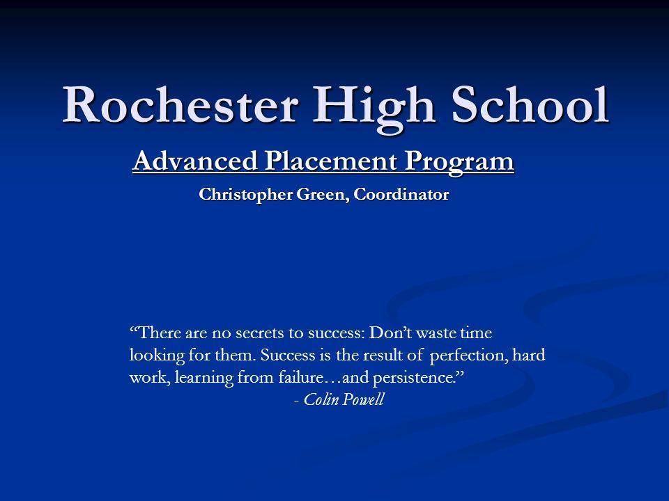 Advanced Placement Program Christopher Green, Coordinator