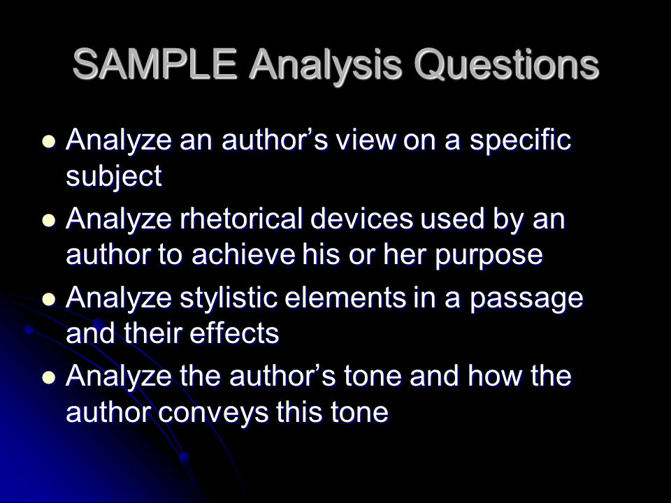 SAMPLE Analysis Questions