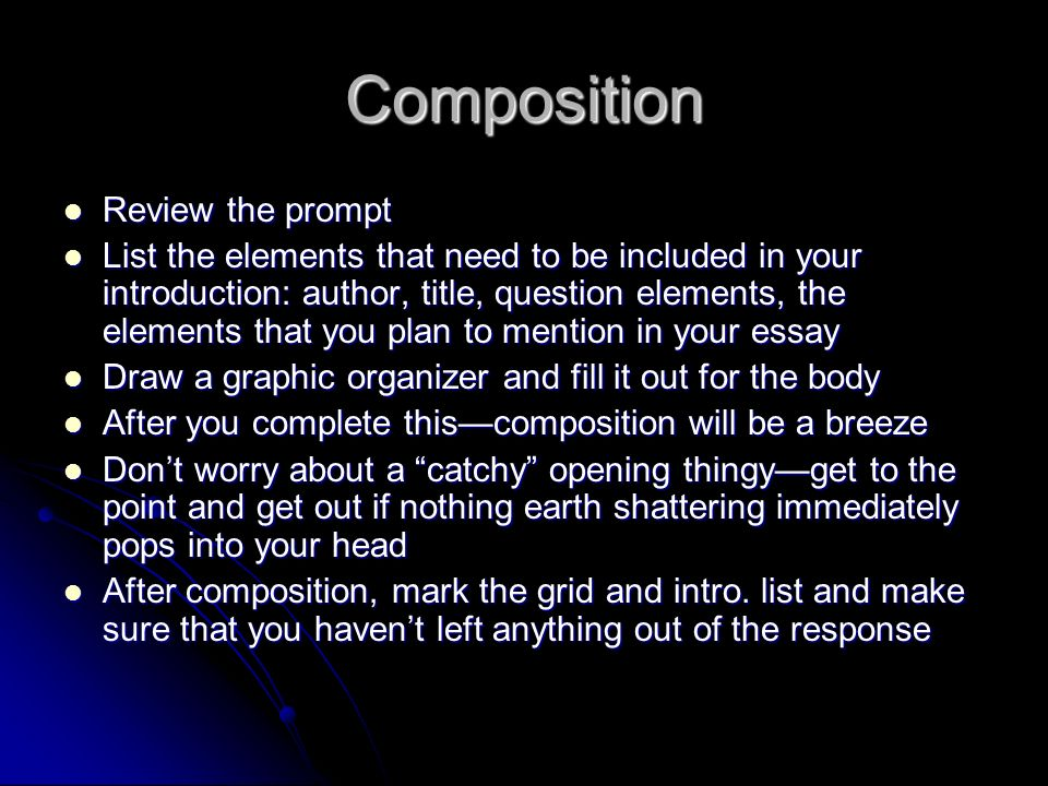 Composition Review the prompt