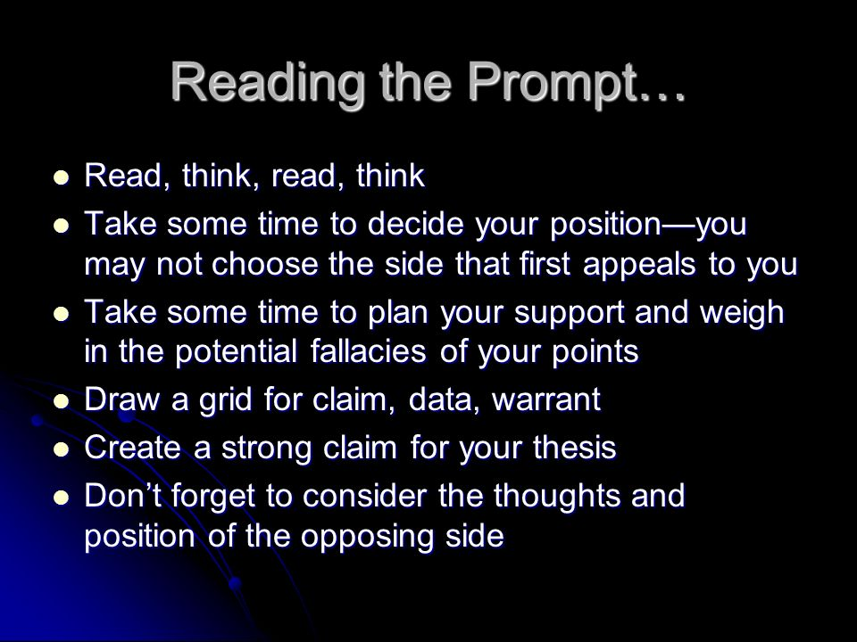 Reading the Prompt… Read, think, read, think