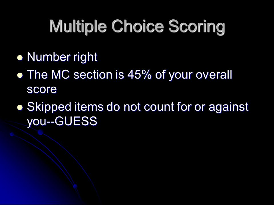 Multiple Choice Scoring