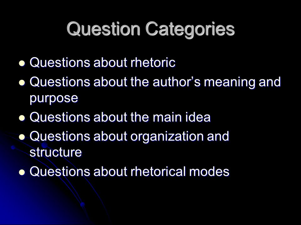 Question Categories Questions about rhetoric