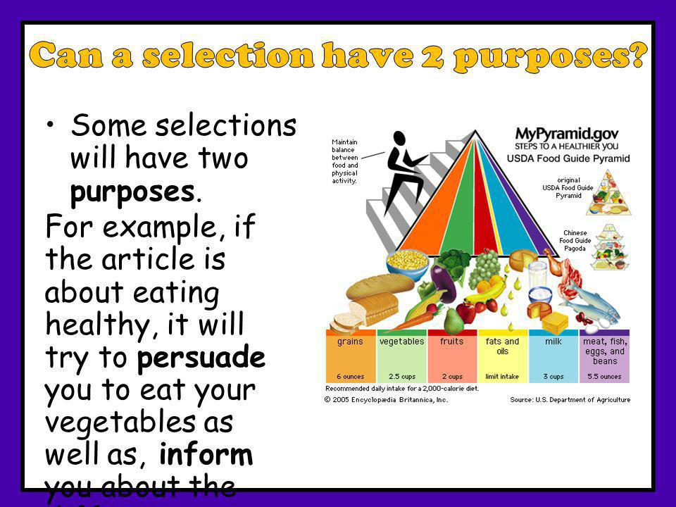 Can a selection have 2 purposes