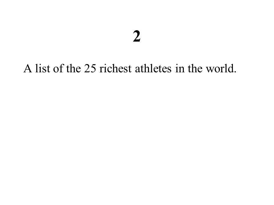 2 A list of the 25 richest athletes in the world.