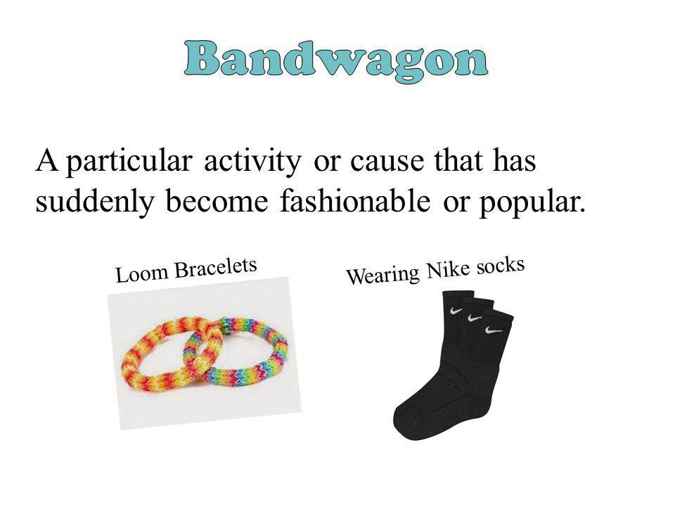 Bandwagon A particular activity or cause that has suddenly become fashionable or popular. Loom Bracelets.