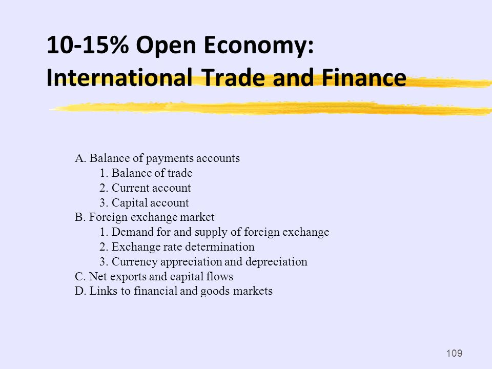 10-15% Open Economy: International Trade and Finance