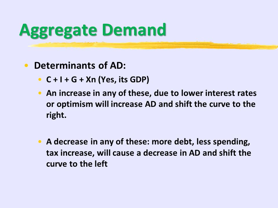 Aggregate Demand Determinants of AD: C + I + G + Xn (Yes, its GDP)