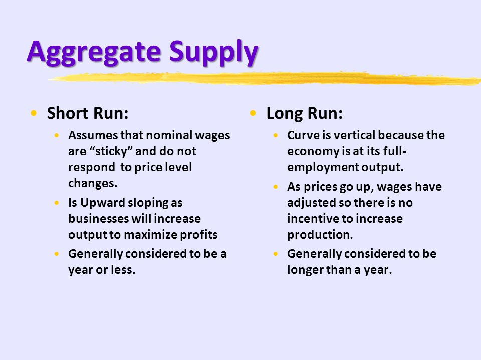 Aggregate Supply Short Run: Long Run: