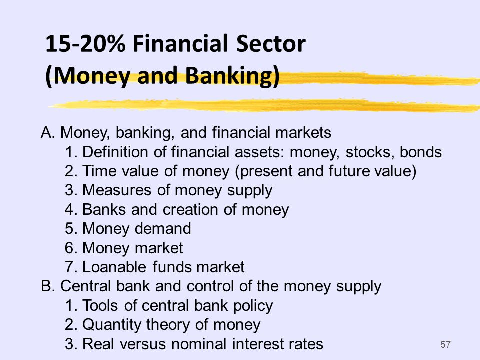 15-20% Financial Sector (Money and Banking)