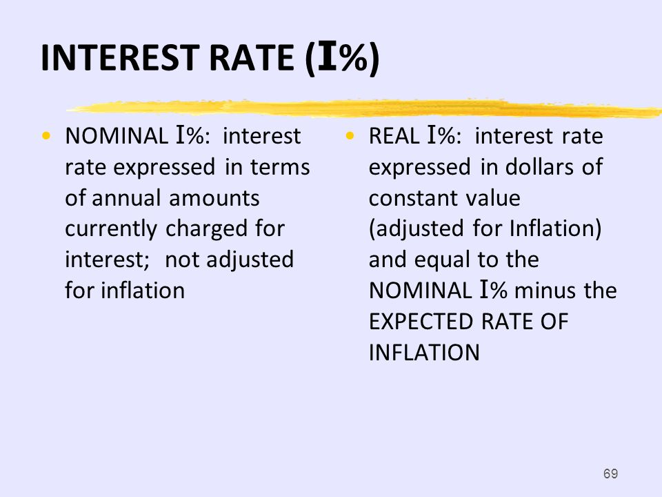 INTEREST RATE (I%) NOMINAL I%: interest rate expressed in terms of annual amounts currently charged for interest; not adjusted for inflation.