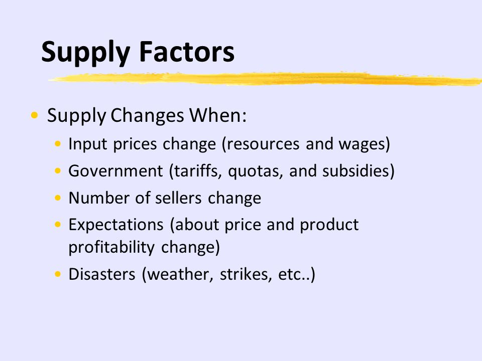 Supply Factors Supply Changes When: